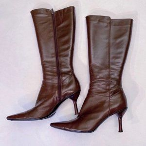 Kenneth Cole Brown Leather Kitten Heel Boots